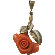 Art Deco 800 Silver Vermeil Carved Mediterranean Red Coral Rose Pendant