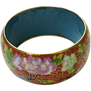 Vintage Chinese Wide Cloisonné Bangle Bracelet Peony Garden
