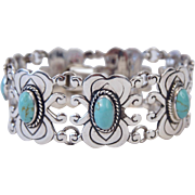 Amazing Mexico Sterling Silver Panel Bracelet Genuine Turquoise Stones