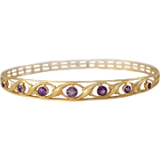 Wordley Allsopp & Bliss WAB Art Nouveau 14K Yellow Gold Amethyst Bangle Bracelet