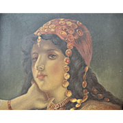 C1850 French Oil Painting on Board Portrait of a Gypsy Lady