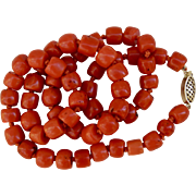 Victorian Mediterranean Sardinian Red Coral 17.5 inches 32.8 grams 14K Gold Clasp