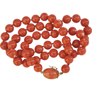 C1960s Mediterranean Orange Red Coral 21 inches 54.4 grams 14K Gold Clasp