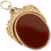 Victorian 9CT Carnelian Set Swivel Fob for Watch Chain or Pendant