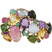 Cluster of Gems Fruit Salad 14K Yellow Gold Fur Clip with Tourmaline, Aquamarine, Diamond, Sapphire, Ruby,  Emerald, Amethyst and Citrine
