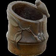 Meiji Period Japanese Bronze Small Brush Pot Bird on Bamboo