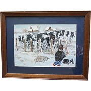 "Vintage Oil Painting on Canvas Walking the Dog on a Snowy Farm 19.5"" X 15"" for Children's Room"