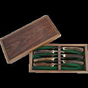 J.A. Henckels Friodur Solingen Germany Steak Knife Set Antler Handle in Wooden box