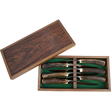 J.A. Henckels Friodur Solingen Germany Steak Knife Set Antler Handle in Wooden box - Red Tag Sale Item