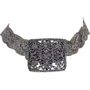 Choker Necklace made from Antique French Victorian 1850's Cut Steel Shoe Buckles Clip Intricate Exquisite Design