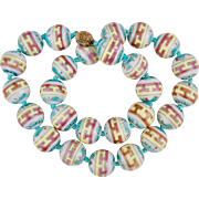 Early 1900s Chinese Famille Rose Porcelain Beads Necklace