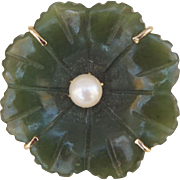 Victorian revival Hand Carved Spinach Green Nephrite Jade Lilypad Pendant Pin with a Cultured Salt Water Pearl Sterling Silver Vermeil