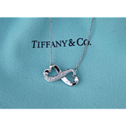Paloma Picasso for Tiffany & Co. 18K White Gold Double Loving Heart Pendant Necklace With Diamonds