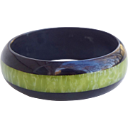 C1960s Black and Green Moon Glow Lucite Bangle Bracelet