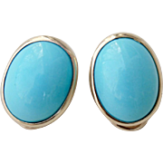 Beautiful Pair Sleeping Beauty Natural Turquoise Earrings 14K Yellow Gold Clip on
