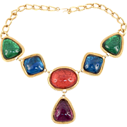 KJL Kenneth Jay Lane Caprianti Poured Lucite Blue Green Red Necklace