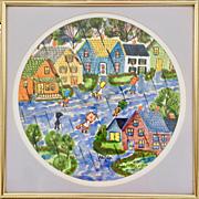 Hilda Kaihlanen (1920-2013) Original Watercolor Rainy Day Primitive Art