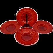 """Set 4 Salviati Venetian Ruby Red Murano Glass Aventurine Gold Flecks Plates 9"""""""