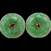Art Deco 22K - 24 Karat Yellow Gold Jadeite Jade Ruby Earrings