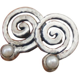 Modernistic Designer Swirl Sterling Silver and Cultured Pearl Earrings