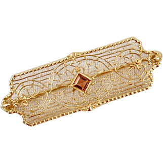 14K Yellow Gold Filigree Pin Brooch Pink Tourmaline