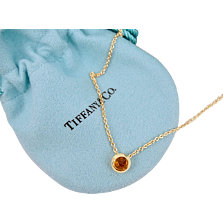 Rare Vintage Tiffany & Co Faceted Madeira Citrine Necklace 18K Yellow Gold 14 inches France