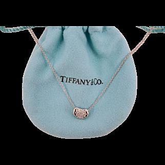 Tiffany & Co Platinum Diamond Bead Necklace Elsa Peretti 14 Inches