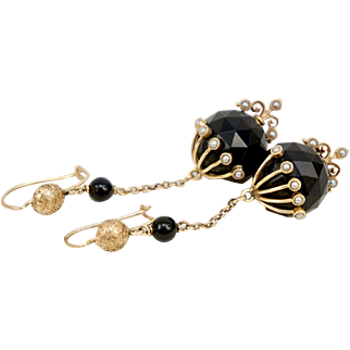 Victorian 14K Yellow Gold Faceted Onyx Seed Pearls Earrings Long Dangle 2 1/2 inches