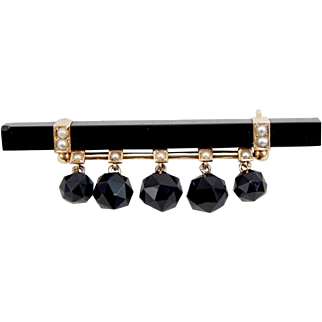 Victorian 14K Yellow Gold Onyx Seed Pearl Pin Brooch
