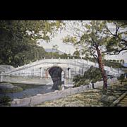 C1950s Chinese Silk Tapestry Textile of Yongshou Bridge Putuo Qiwen Woven