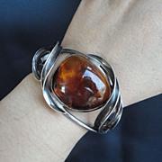 Vintage Sterling Silver Bangle Bracelet Huge Genuine Baltic Honey Amber