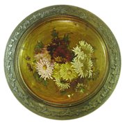 Handpainted Flowers on Metal Plaque in Metal Frame, 14""