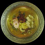 """Handpainted Flowers on Metal Plaque in Metal Frame, 14"""""""