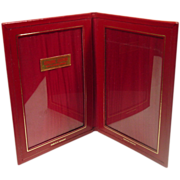 1950's Red Leather Folding Photo Frame, Western Germany