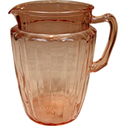 Anchor Hocking Glass, Pillar Optic, Pitcher, Pink, 1937-1942