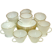 Anchor Hocking Fire-King, Golden Shell, Coffee set with C&S