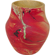 "Nemadji Pottery, Vase, 4 3/4"" Tall, Red and Sand Swirls"