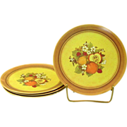 Melamine Plates, Flowers and Fruits design, Made in U.S.A.