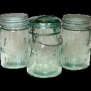3 Atlas Canning Jars, 2 Pint Mason, 1 Pint E-Z Seal - Red Tag Sale Item