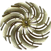 Vintage Sarah Coventry Pin, Large Swirl, Gold-tone