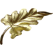 Vintage Monet Leaf Pin, Goldtone