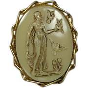 Vintage Glass Cameo Pin, Full Figure Classical Lady