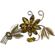 Large Sterling Floral Pin with Faceted Citrine Colored Stones