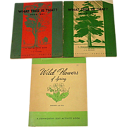 Three Activity Book, Trees and Wildflowers, Unused, 1940's