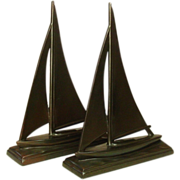 "Sailing Sloop Bookends, Bronzed Metal, 10"", 1930's"