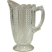 EAPG Glass Pitcher, Feather Pattern, Circa 1896, McKee Brothers - Red Tag Sale Item