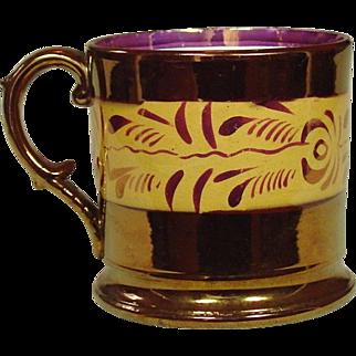 Copper Lustreware Mug, Staffordshire, 19th Century
