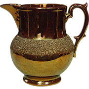 Copper Lustreware Pitcher, Staffordshire, 19th Century