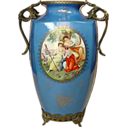 "Sevres Style Vase with Ormolu Stand, 13"", Gilt Decoration"