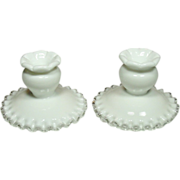 Fenton Silver Crest Candleholders, Pair